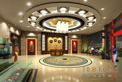 现代中式餐厅3D模型