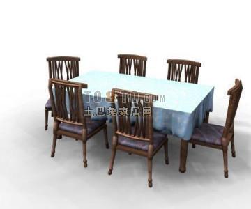中式风格餐桌3D模型下载