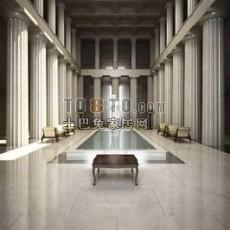 美式走廊场景3d模型下载