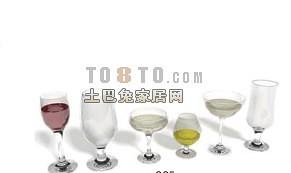 高脚玻璃杯红酒杯3d模型下载