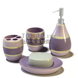 化妆品,瓶子,香皂盒等洗浴用品3D模型2-5套