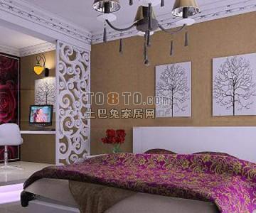 卧室镂空隔断3D模型8