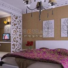 卧室镂空隔断83d模型下载