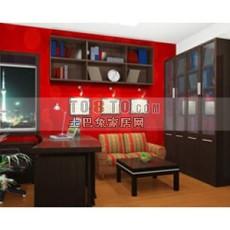 中式红木书房3d模型下载