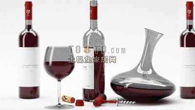 酒杯酒瓶3d模型下载