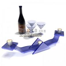 酒杯-红酒-烛台打包3d模型下载