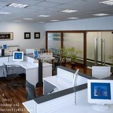 现代简洁办公室3d模型下载