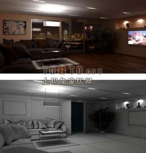 高品质完整室内空间-3dmax场景模型下载
