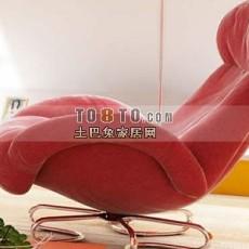 红色现代风格单人沙发3d模型下载