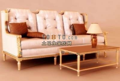 3D欧式多人沙发模型下载