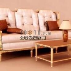 欧式多人沙发 3d模型下载