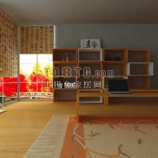 中式休闲书房3d模型下载