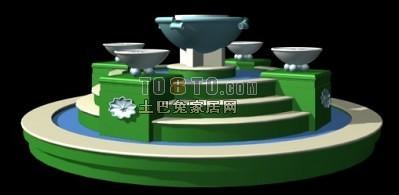 水池欧式喷泉3d模型下载