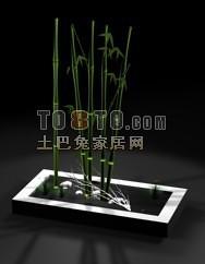 竹子石头小花方形花坛3d模型下载