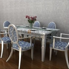欧式餐桌83d模型下载