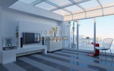 现代客厅3d模型下载49