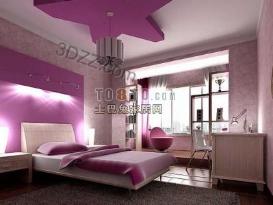 粉红色的卧室3d模型