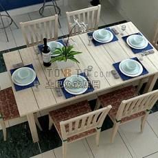 木制桌椅家具组合3d模型下载