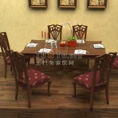 中式餐桌椅家具3d模型下载