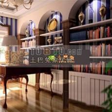 欧式书房3d模型下载