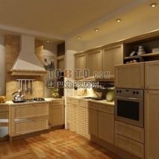 实木欧式橱柜厨房83d模型下载