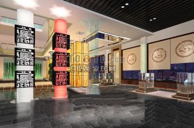 中式展厅模型下载