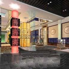 中式展厅3d模型下载