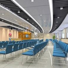 现代大型展厅3d模型下载