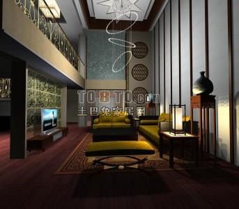 复式客厅3D模型4