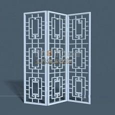 现代中式隔断3d模型下载