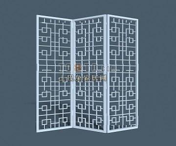 现代中式隔断3D模型