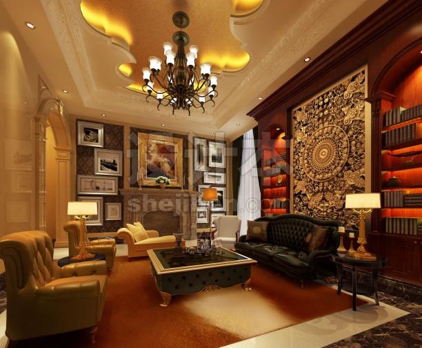 欧式风格客厅3d模型免费下载