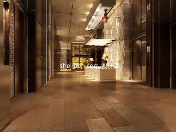 现代客厅走道3d模型下载