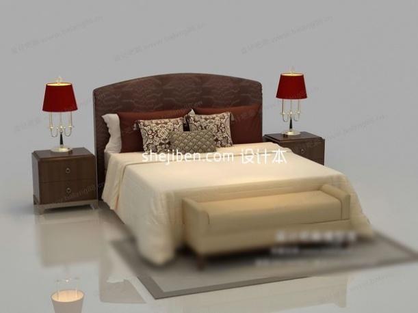 别致的双人床3d模型免费下载