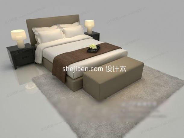 双人床模型下载