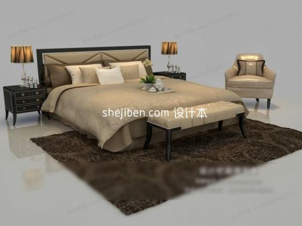 现代欧式双人床3d模型库免费下载