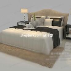 欧式双人床家具3d模型下载