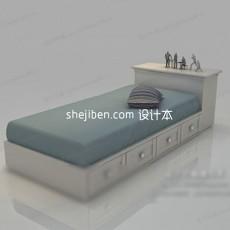 欧式单人床 3d模型下载