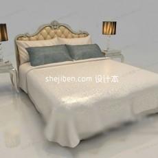 欧式双人床3d模型下载