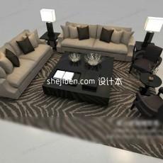 现代组合沙发3d模型下载