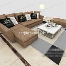 精美家居现代沙发茶几组合3d模型下载