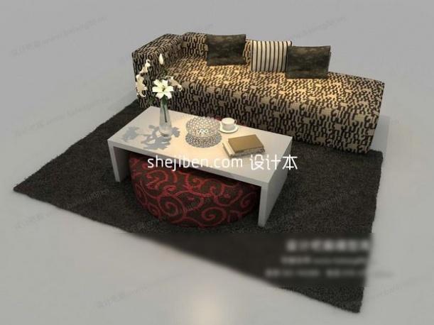 简洁清爽现代中式沙发组合