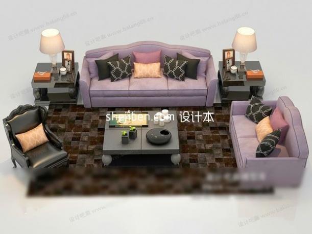 紫气东来欧式多人沙发3D模型免费下载