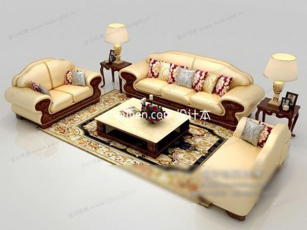 豪华奢侈欧式多人沙发模型免费下载