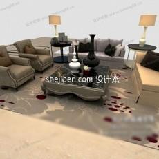 布艺时尚欧式多人沙发3d模型下载