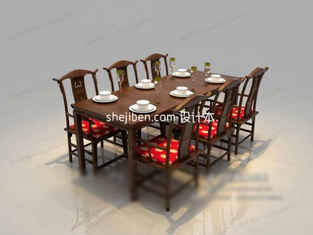 玄关鞋柜3d模型_中式小圆形餐桌3d模型下载-设计本3D模型下载