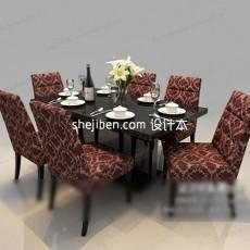 布艺自然小圆形餐桌3d模型下载