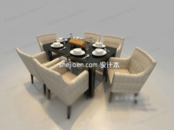 欧式清新舒适餐桌3d模型免费下载