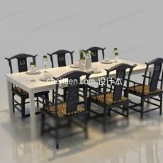 实木六人餐椅3d模型下载