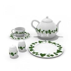 葡萄叶花边图案茶具3d模型下载